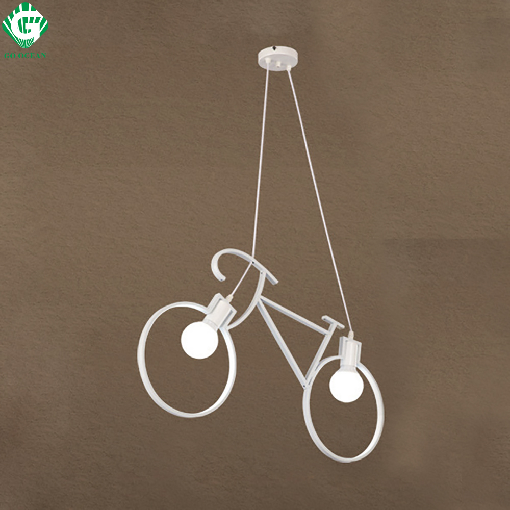 GO OCEAN Pendant Lights Bicycle Shape Creative Pendant Lamps Modern Black White Restaurant Lamp 90V-220V Home Lighting