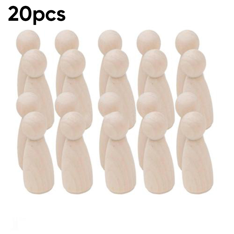 20pcs Unpainted Blank Wooden Peg Dolls Nesting Set Peg Dolls Crafts DIY Wooden Figures Family Creative Kid Toy Wedding Home