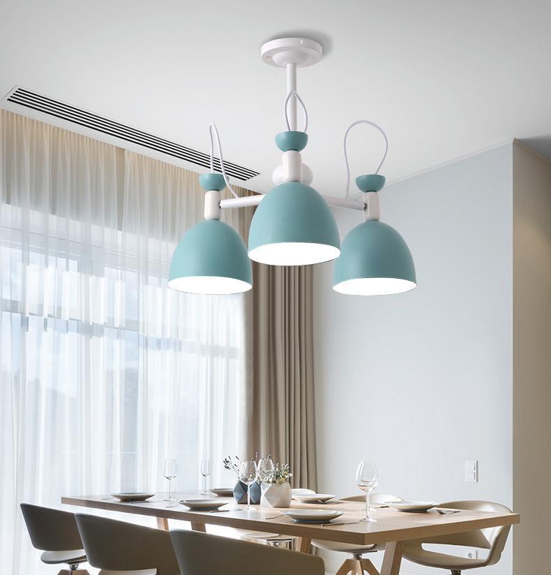 Apartamento de hierro azul lámpara techo accesorios para adolescentes dormitorio chico es iluminación escaparate juegos lámpara sombra mini E27 lustres - 3