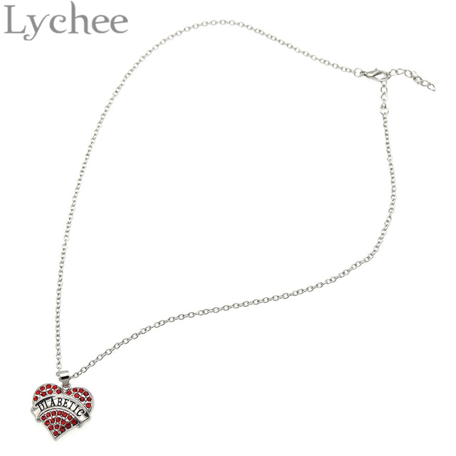 Lychee alloy silver color medical alert jewelry crystal heart lychee alloy silver color medical alert jewelry crystal heart pendant diabetic awareness necklace jewelry for men aloadofball Images