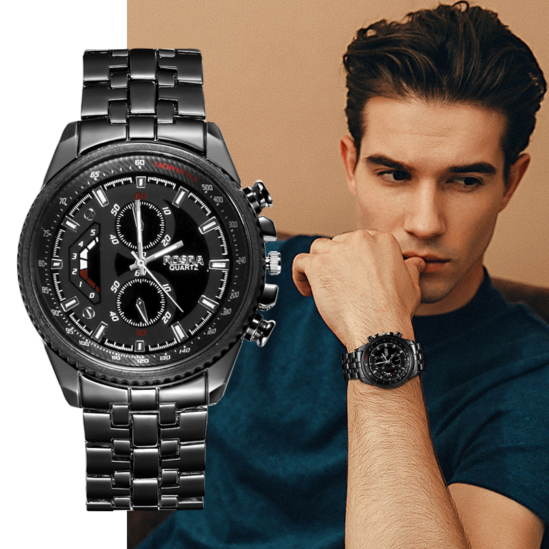 Watches Luxury Business-Wristwatch Quartz Casual Reloj Men Full-Steel