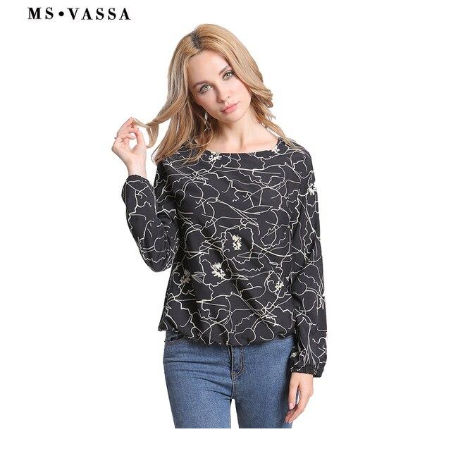 Black floral O-neck shirts long sleeve loose printed tops  2