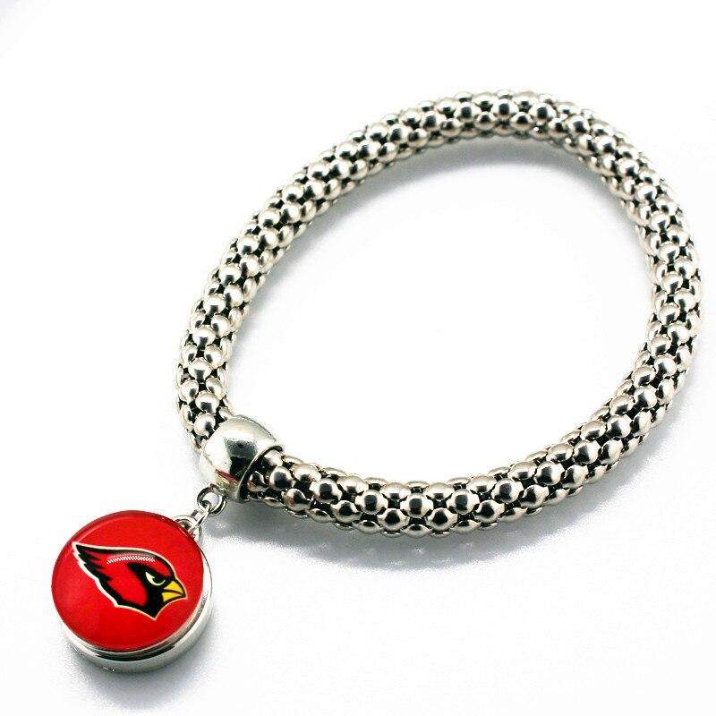 10pcs Elastic Bracelet Arizona Cardinals Footabll Sports Team Glass 18mm Snap button Bangle Bracelets Jewelry For Man Woman
