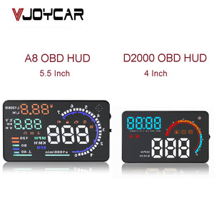 "Image 2 - 5.5"" A8 Car HUD Head Up Display And 4"" D2000 OBD2 Display LED Windscreen OBD Scanner Over Speed Warning Car Speed Projector"
