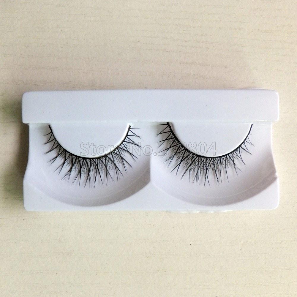 2016 New Handmade Fake False Eyelash Lashes Natural Transparent Stem Black Free Shipping With Retail Box