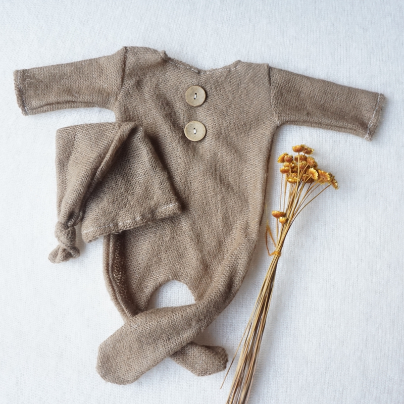 2019 Newborn Photography Props Infant Costume Outfit +Hat Photo Shooting Soft Cute   Romper   Baby Photography Prop With Real Photo