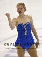 Blue Figure Skating Dress Elegant New Brand Competition Ice Figure Skating Dresses For Women DR3508