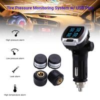 LCD TPMS Tire Pressure Alarm Monitoring System 12V Digital Tire Pressure Alarm External Sensor With USB Port Cigarette Lighter