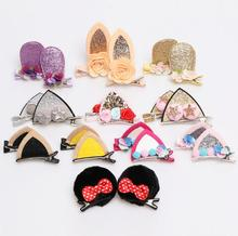 2Pcs Solid cat ears hairpins  Sequins hair clips cute rabbit shape barrettes girls Bow accessories headdress J52