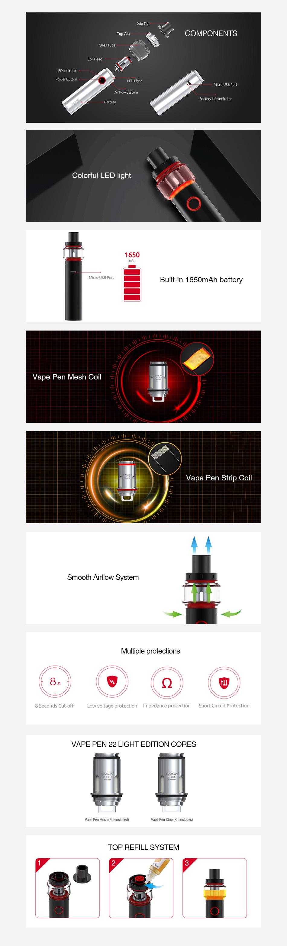 , Original Smok Vape Pen 22 Starter Kit Light Edition w/ 1650mAh Battery & 4ml Tank Vape Pen Kit Vape Kit Vs Smok Novo / Stick V8