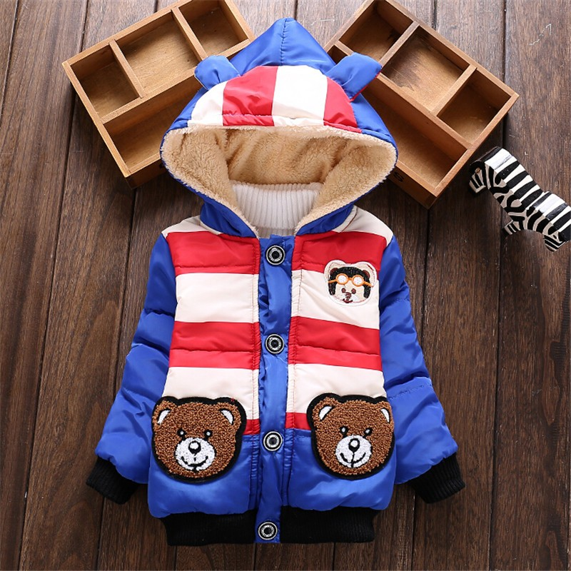 2017 1pc Retail Baby boys Bear Winter Coat,children outerwear, Kids cotton thick warm hoodies jacket boys clothing in stock
