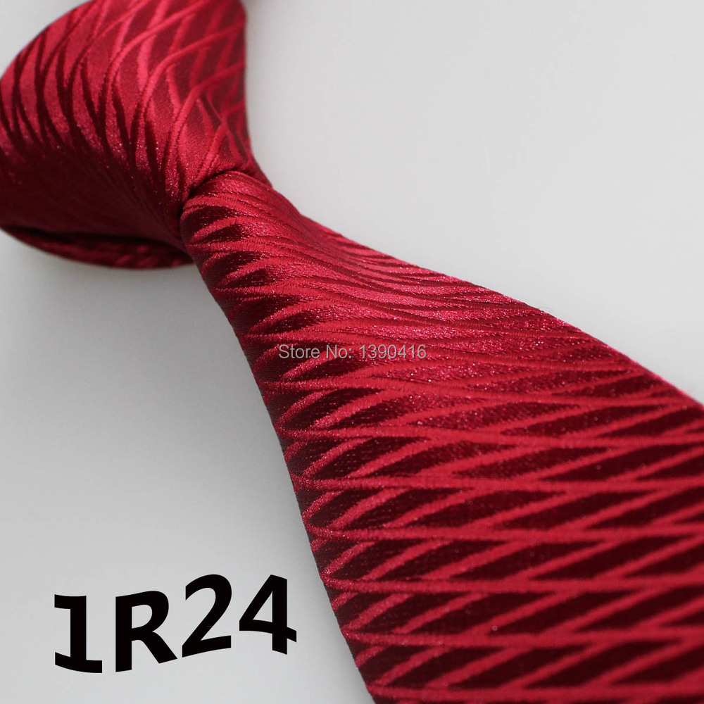 2015 Latest Style Mens Dress Tie Dark Red Deep Wine Grid Striped Design Wedding Dresses Prom