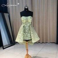 Leeymon Sexy Sheer Кружево Зеленый Коктейльное Платье 2017 Лидер продаж без бретелек Кристалл Короткие Коктейль платье коктейльное cc09