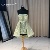 Leeymon Sexy Sheer Lace Vestido de Cocktail Verde 2017 Venda Quente de Cristal Strapless Partido Curto Vestido de Cocktail Robe de Cocktail CC09