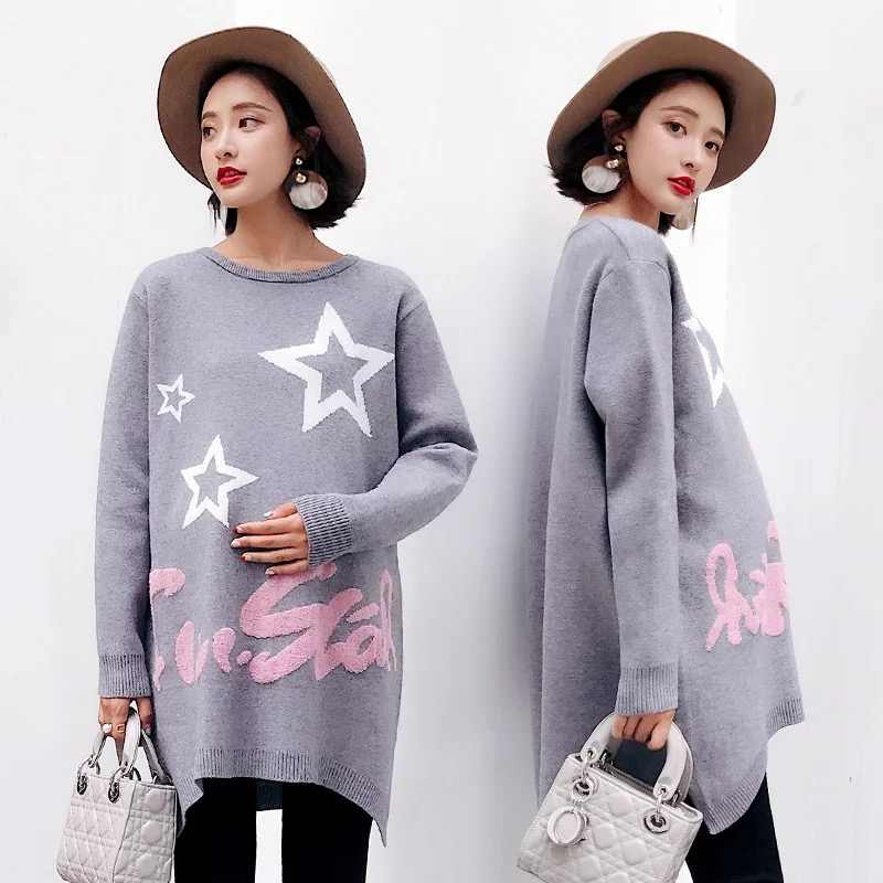 2018 Fashion Maternity Clothes Autumn And Winter Knitted Sweaters Pullovers Maternity Sweater Embroidered Pregnancy Sweatshirt