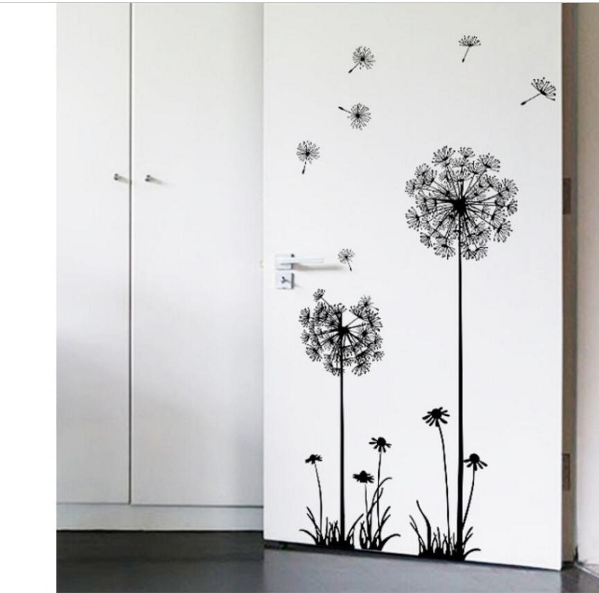 Hot black dandelion wall stickers sitting room bedroom wall stickers household adornment wall stickers on the wall