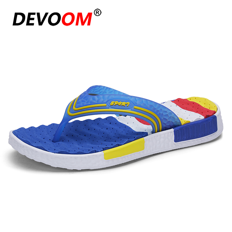 Summer Beach Flip Flops Men Wave Massage Soft Sole Breathable Holes Insole Sand Shoes Top Quality Fashion Slipper Stripe New 44 2016 summer new men s massage sole flip flops personality simple slippers breathable fashion beach shoes size 40 44 b1953