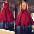 2017 Cheap Tea Length Prom Dresses Spaghetti Backless Burgundy Red Draped Short Women Plus Size Formal Occasion Party Dresses