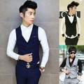Осень британский стиль мужчины одежда приталенный мужчины жилет мужчины бизнес свободного покроя костюм жилет