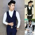 Free shipping new 2015 autumn British style plus size men clothes slim men vest men business casual suit vest
