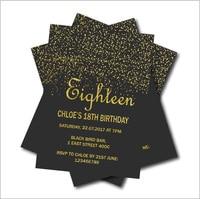 20 Pcs Gold Glitter 18th Birthday Invitations Adult 21st 30th 40th 50th 70th 80th 90th