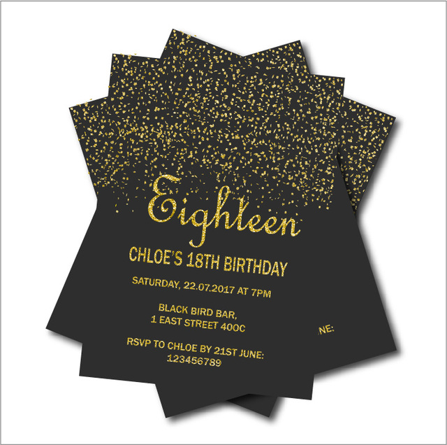 20 pcs Gold Glitter 18th Birthday Invitations Adult 21st 30th 40th