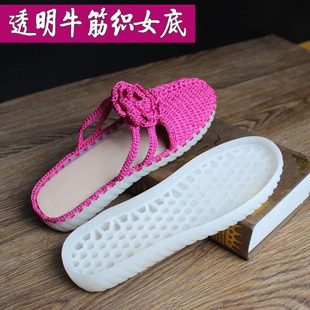 Hand gebreide haak zolen holle draad schoenen kristal onderkant pees onderkant haak schoenen transparante smaakloos non slip zolen