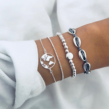 Cuteeco 4 Pcs/ Set Retro Beach Shell Map Beads Silver Multilayer Chain Leather Bracelet Women Creative Fashion Jewelry Gifts