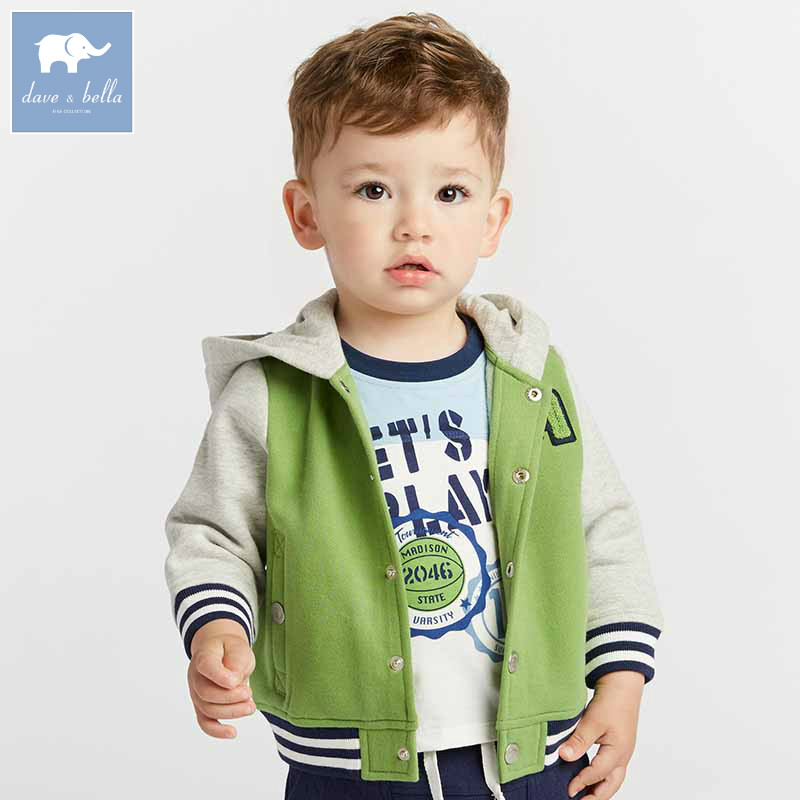 DBA7802 dave bella autumn infant baby boys fashion hooded coat kids toddler children hight quality clothes db5941 dave bella autumn baby boys toddler stars print overalls children high quality overalls infant denim clothes