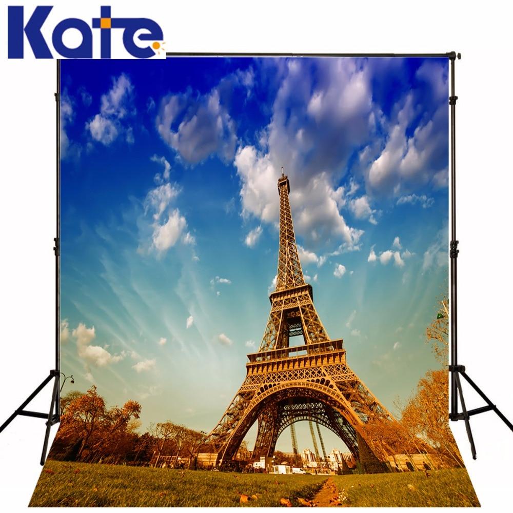 ФОТО Kate Eiffel Tower Backdrop Scenic Photography Backdrops Bluesky White Cloud Photo Large Size Seamless Photo