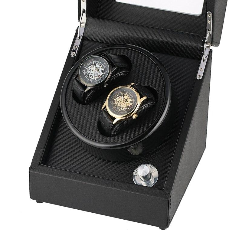 자동 시계 와인 더 케이스 홀더 기계식 시계 더블 와인딩 디스플레이 주최자 럭셔리 모터 셰이커 pu 가죽 회전 상자-에서시계를 감는 장치부터 시계 의  그룹 2