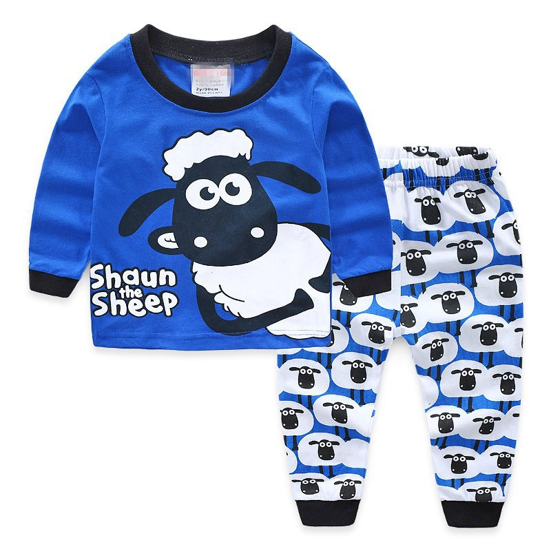 2018 Children pyjamas kids sleepwear boys clothes   set     pajamas   baby girl cartoon long sleeve T-shirt+pants 2pcs cLothing   sets