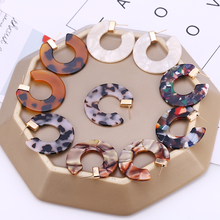 HOCOLE New Fashion Bohemia Acrylic Drop Earring Female Vintage Leopard Print Circle Hoops Geometric Acetate Jewelry