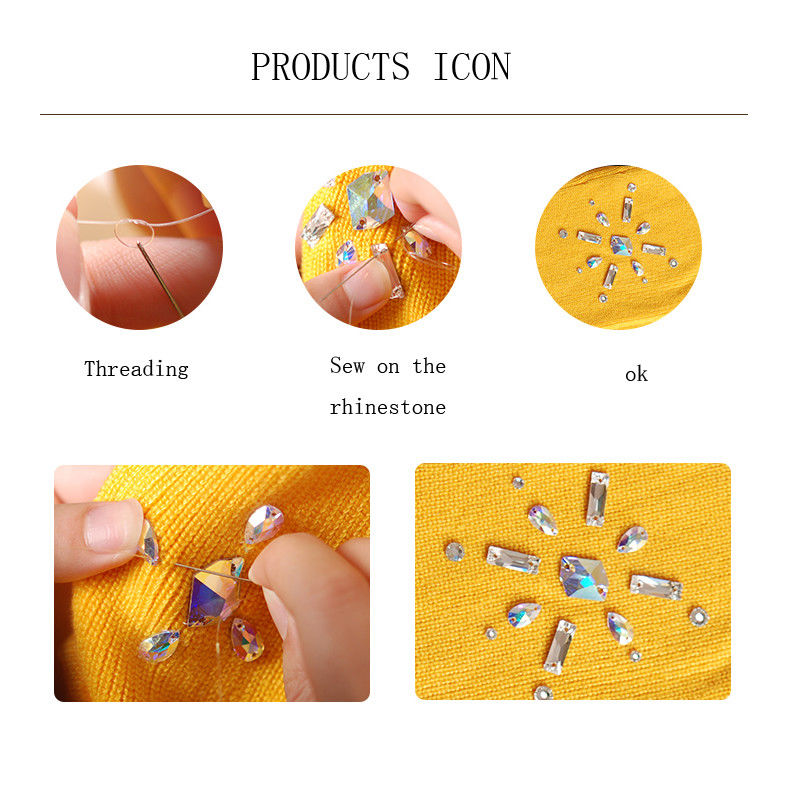 3240 Square All Size Sew On Rhinestones Flatback 3D Crystal Sewing on Crystals With Holes For Clothing Accessories DIY in Rhinestones from Home Garden