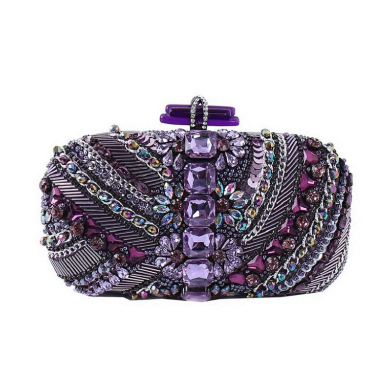 NEW Temperament woman purple luxury Evening Bags handbags ladies Dinner clutch bags Hand-beaded diamond Wedding Party Bags WY99 high grade red blue black leather with a fine metal fashion temperament ladies dinner party handbags evening wedding bag clutch