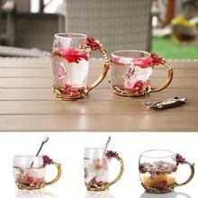 Горячие продукты кофейные кружки эмаль Роза Бабочка прозрачные чаши стеклянные кружки травяной чай чашки