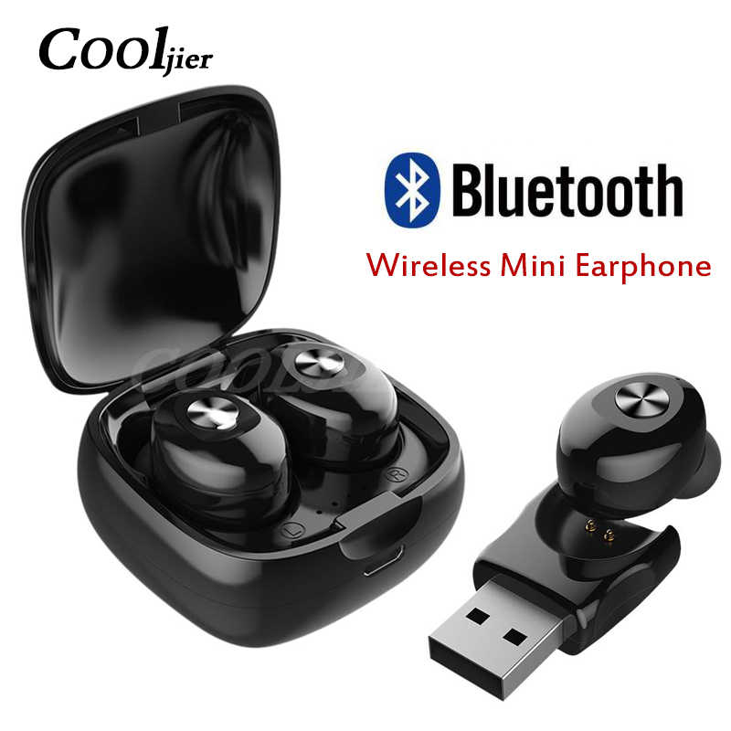COOLJIER Mini Bluetooth Wireless Earphone Sports Headsets Earbuds Stereo Bluetooth Headset With Mic For All Smart Mobile Phone