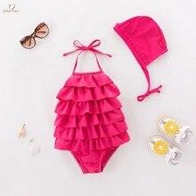 Новинка; для маленьких девочек; купальный костюм розового цвета с гофрированными манжетами с лямкой на шее купальник, шапочка, комплект из 2 предметов, детский ванный комплект оборками пляжная одежда