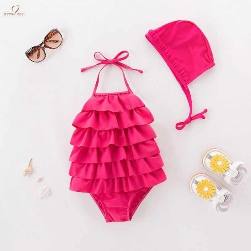 863bf8d7cc NEW Baby Girls Swimwear Swimsuit pink Tiers Halter Swimsuit Hat 2pc Set Kids  Children Toddler Bathing