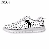 FORUDESIGNS Casual Sneaker Women 2017 Cute Animal Cat Printed Women S Light Weight Leisure Shoes Flats