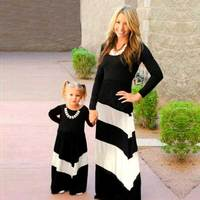 2016 Contrast Color Black And White Stripes Dress Girl Kids And Mother Clothes Family Matching Outfits