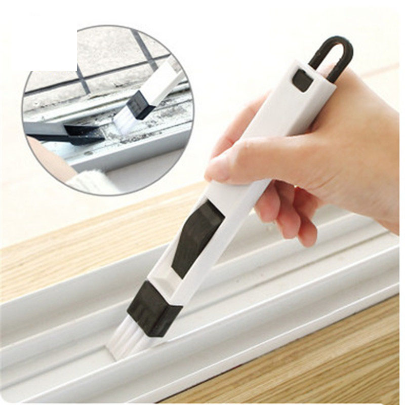 2 in 1 Multipurpose Window Groove Cleaning Brush Nook Cranny Household Keyboard Home Kit ...