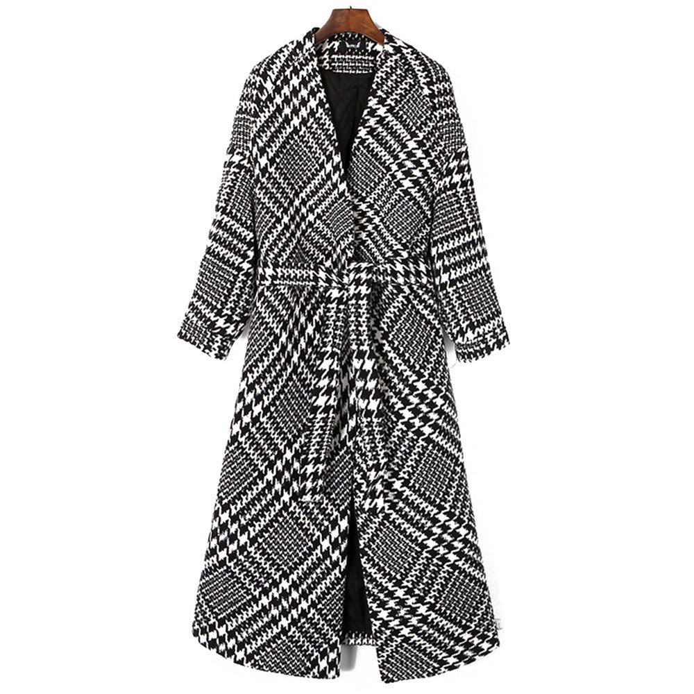 Plaid Wool Blends Long Coat Women 2018 New Fall Loose Straight Belt Office Lady Hot Sale Winter Warm Thickened Elegant Overcoats