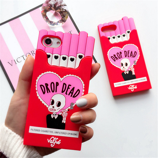Q UNCLE 3D Cigarette Phone Case For iPhone 7 Creativity Soft Silicon Cover For Apple iPhone XR XS MAX 6s 6 X 8 Plus