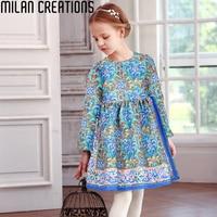 Milan Creations Girls Winter Dress 2016 Brand Princess Dress For Girls Clothes Printed Long Sleeve Girls
