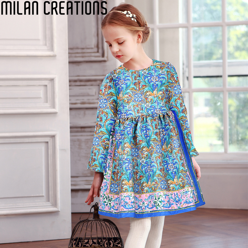 Milan Creations Girls Winter Dress 2016 Brand Princess Dress for Girls Clothes Printed Long Sleeve Girls Dresses Kids Clothes