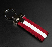 nylon Leather Car Keychain Key Chains Rings Fob Fits for Audi Car Sline Logo Keyring A3 A4 A6 A7 A8 TT RS Q5 Q7 Car styling(China)