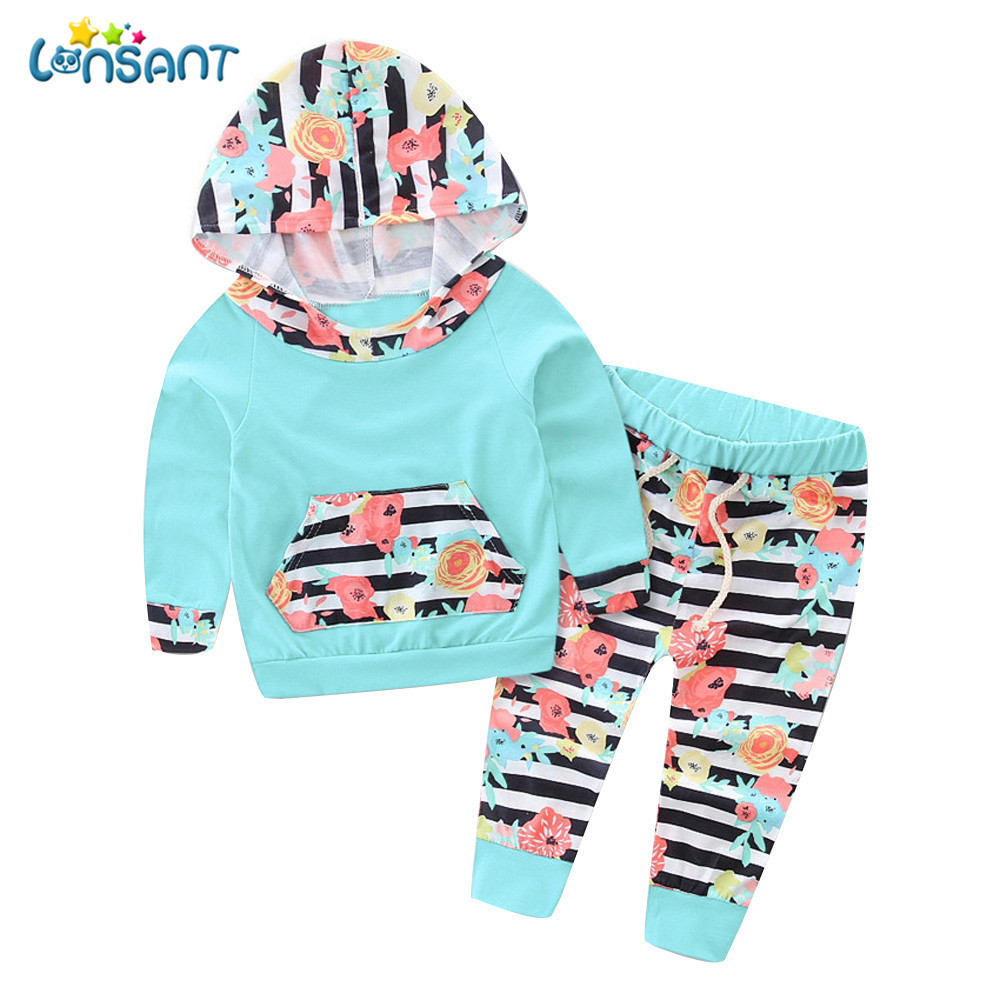 Newborn Infant Baby Girl Floral Striped Hoodie Tops+Pants Outfits Clothes Set