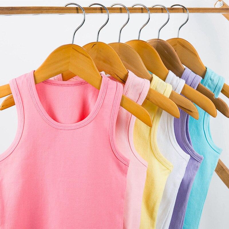 2-10 חדש קיץ בנות T חולצת כותנה ללא שרוולים צבעים בוהקים ילדי חולצות ילד למעלה כותנה אפוד ילדי גופיית תינוק singlets