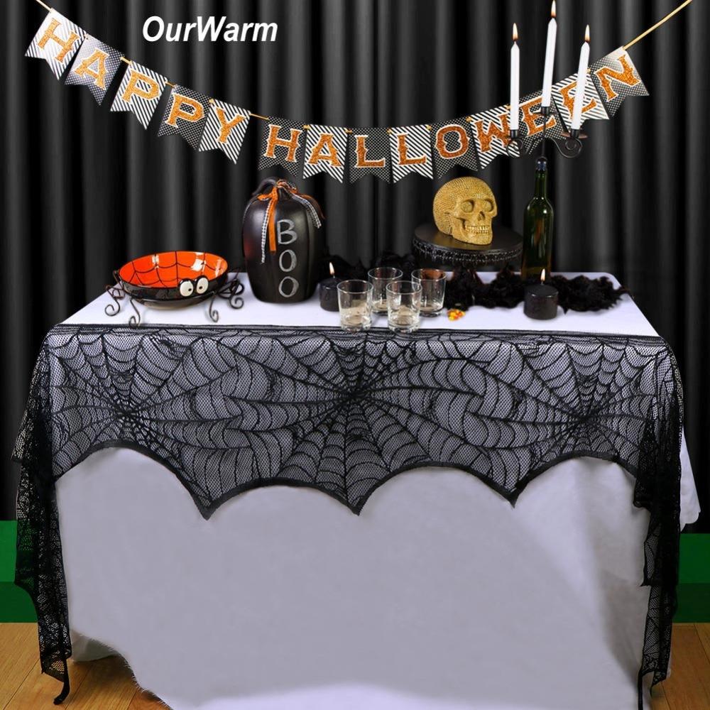 Ourwarm Halloween Black Lace Spiderweb Party Party Բուխարի - Տոնական պարագաներ - Լուսանկար 2